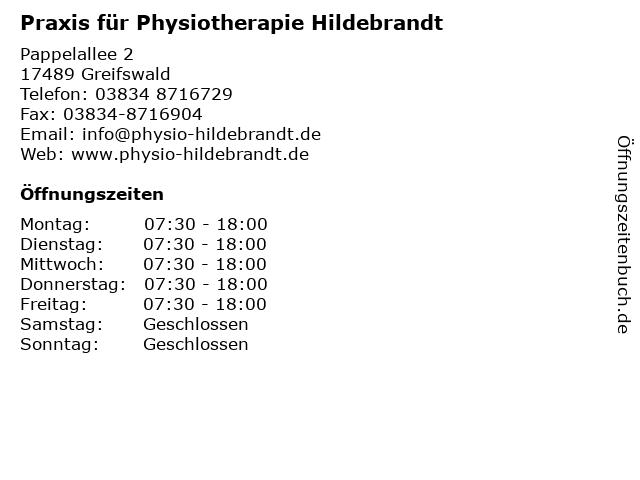 Praxis für Physiotherapie Hildebrandt in Greifswald: Adresse und Öffnungszeiten