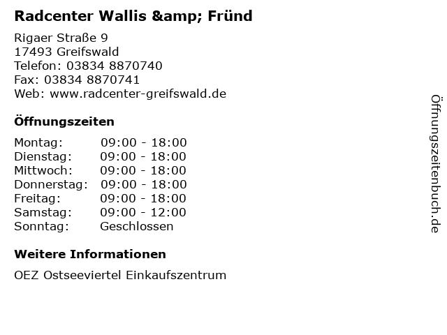 Radcenter Wallis & Fründ in Greifswald: Adresse und Öffnungszeiten