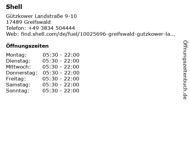 Shell-Tankstelle in Greifswald: Adresse und Öffnungszeiten