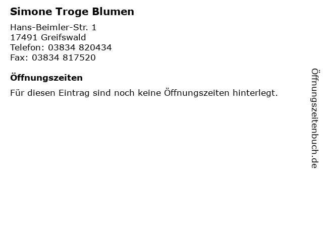 Simone Troge Blumen in Greifswald: Adresse und Öffnungszeiten