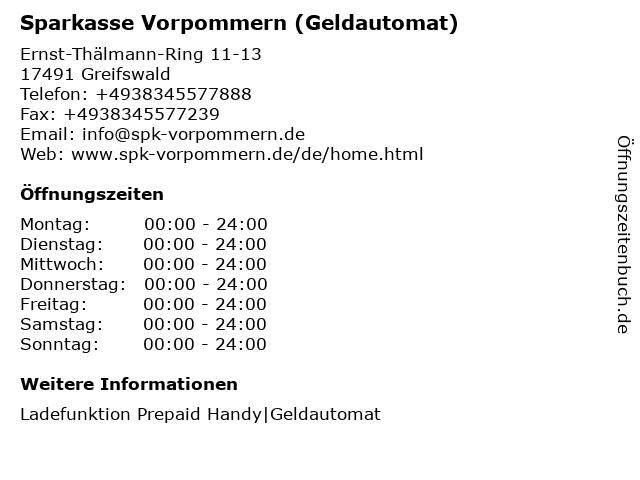 Sparkasse Vorpommern - (Geldautomat Filiale) in Greifswald: Adresse und Öffnungszeiten