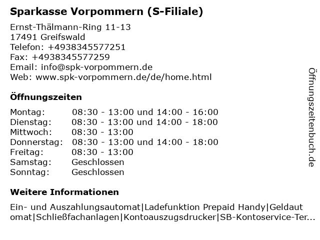 Sparkasse Vorpommern - Filiale Greifswald Schönwaldecenter in Greifswald: Adresse und Öffnungszeiten