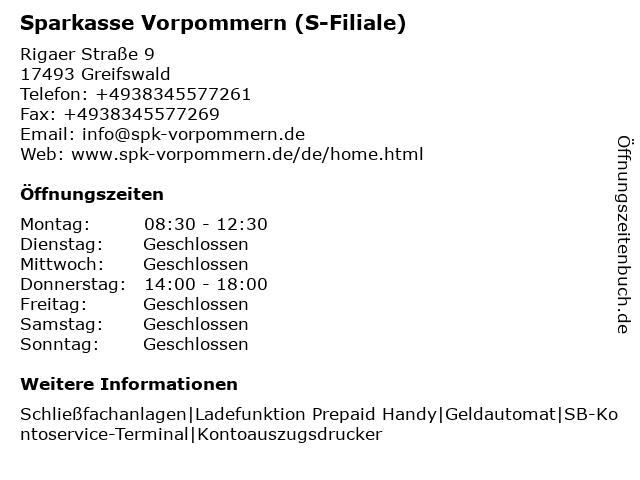 Sparkasse Vorpommern - Filiale Greifswald Ostseeviertel Einkaufszentrum in Greifswald: Adresse und Öffnungszeiten