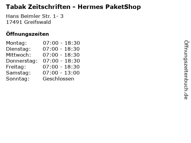 Tabak Zeitschriften - Hermes PaketShop in Greifswald: Adresse und Öffnungszeiten