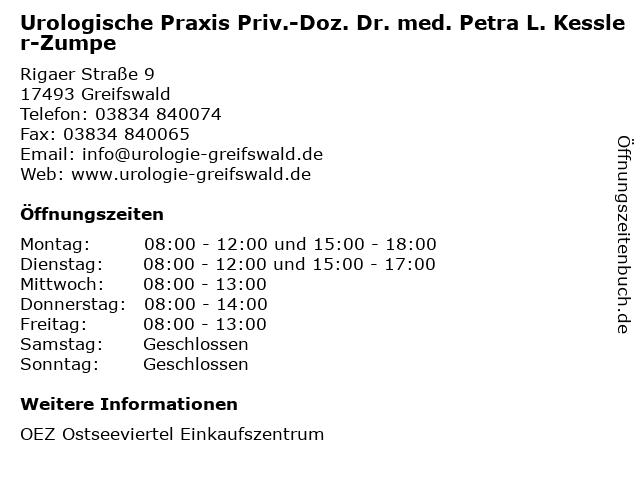 Urologische Praxis Priv.-Doz. Dr. med. Petra L. Kessler-Zumpe in Greifswald: Adresse und Öffnungszeiten