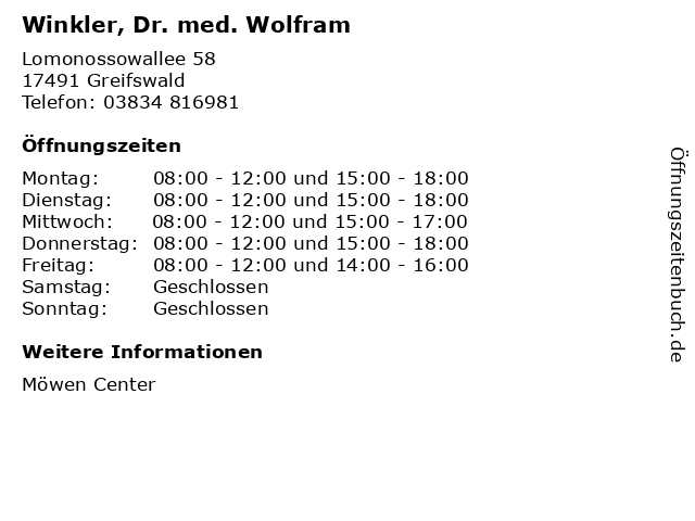 Winkler, Dr. med. Wolfram in Greifswald: Adresse und Öffnungszeiten