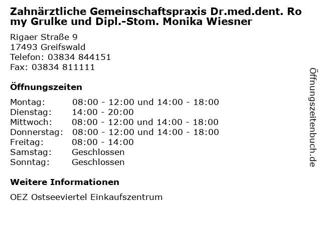 Zahnärztliche Gemeinschaftspraxis Dr.med.dent. Romy Grulke und Dipl.-Stom. Monika Wiesner in Greifswald: Adresse und Öffnungszeiten