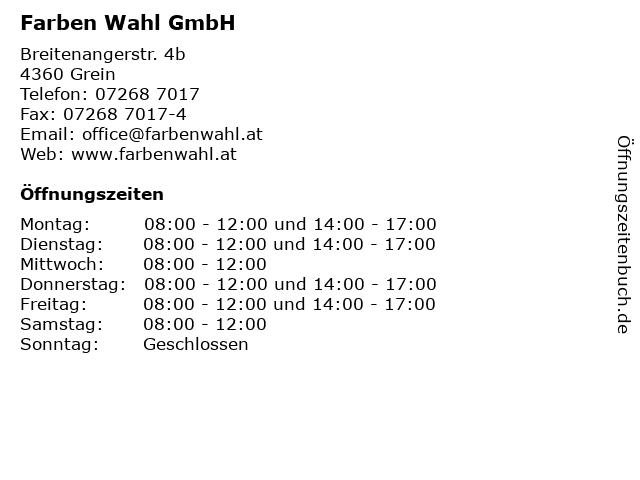 Farben Wahl GmbH in Grein: Adresse und Öffnungszeiten