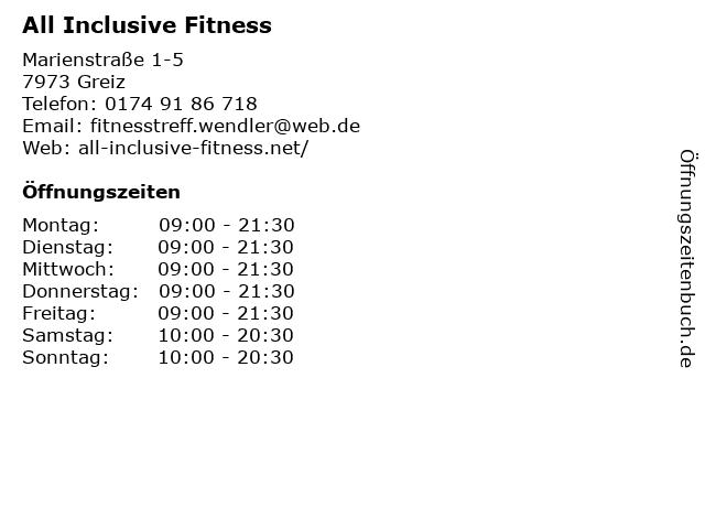 All Inclusive Fitness in Greiz: Adresse und Öffnungszeiten