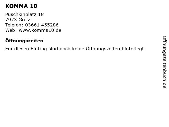 KOMMA 10 in Greiz: Adresse und Öffnungszeiten