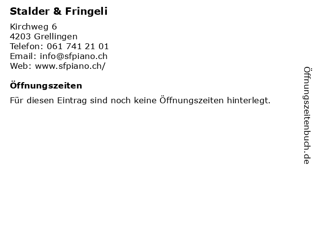 Stalder & Fringeli in Grellingen: Adresse und Öffnungszeiten