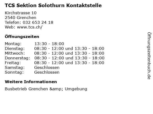 TCS Sektion Solothurn Kontaktstelle in Grenchen: Adresse und Öffnungszeiten