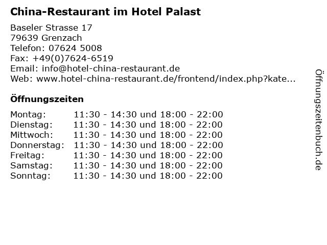 China-Restaurant im Hotel Palast in Grenzach: Adresse und Öffnungszeiten