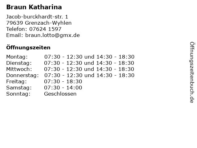 Braun Katharina in Grenzach-Wyhlen: Adresse und Öffnungszeiten