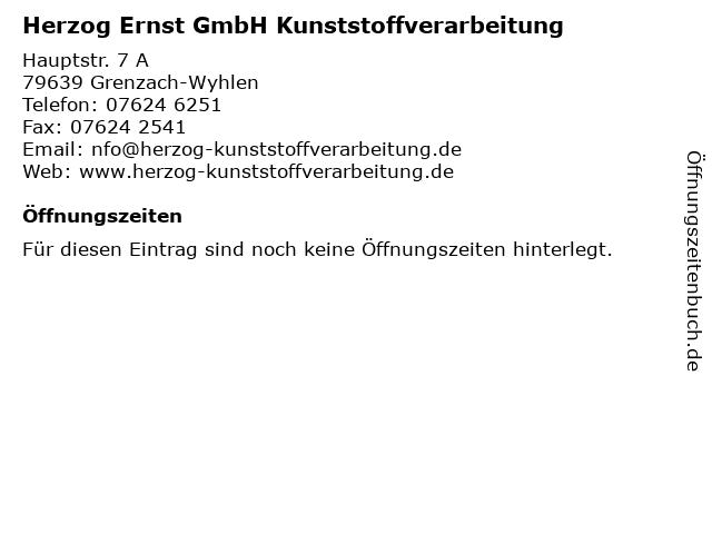 Herzog Ernst GmbH Kunststoffverarbeitung in Grenzach-Wyhlen: Adresse und Öffnungszeiten