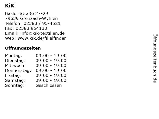 KiK in Grenzach-Wyhlen: Adresse und Öffnungszeiten