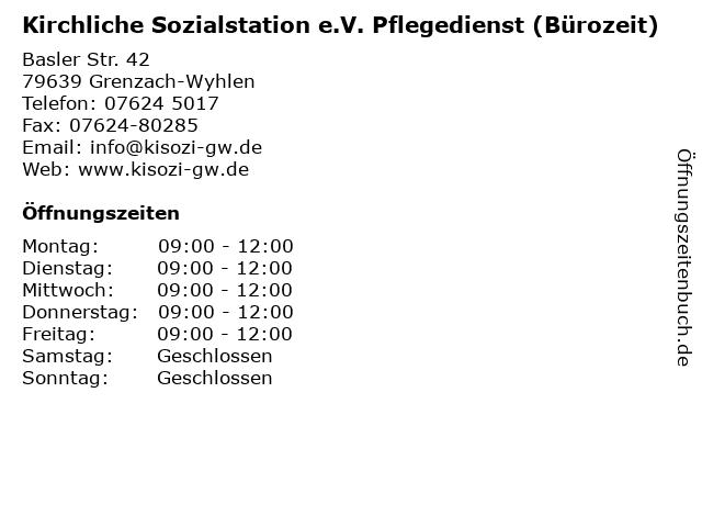Kirchliche Sozialstation e.V. Pflegedienst (Bürozeit) in Grenzach-Wyhlen: Adresse und Öffnungszeiten
