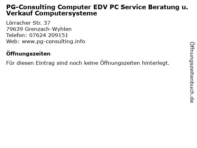 PG-Consulting Computer EDV PC Service Beratung u. Verkauf Computersysteme in Grenzach-Wyhlen: Adresse und Öffnungszeiten