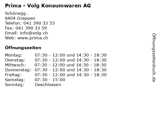 Prima - Volg Konsumwaren AG in Greppen: Adresse und Öffnungszeiten