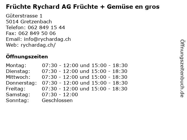 Früchte Rychard AG Früchte + Gemüse en gros in Gretzenbach: Adresse und Öffnungszeiten