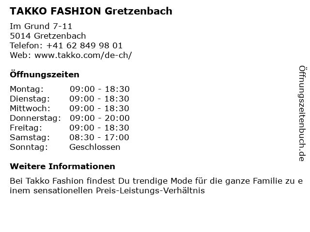Takko Fashion in Gretzenbach: Adresse und Öffnungszeiten