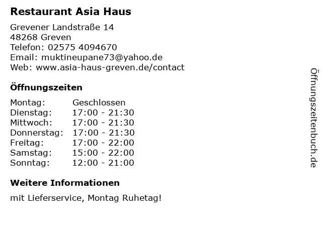Restaurant Asia Haus in Greven: Adresse und Öffnungszeiten
