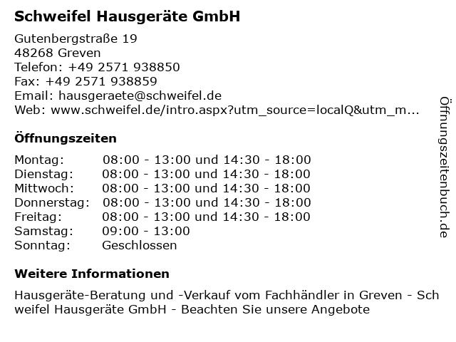 Schweifel Hausgeräte GmbH in Greven: Adresse und Öffnungszeiten
