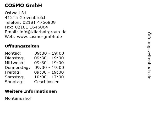 COSMO GmbH in Grevenbroich: Adresse und Öffnungszeiten