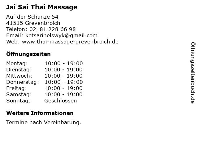 Jai Sai Thai Massage in Grevenbroich: Adresse und Öffnungszeiten