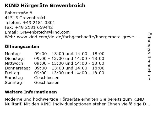 KIND Hörgeräte in Grevenbroich: Adresse und Öffnungszeiten