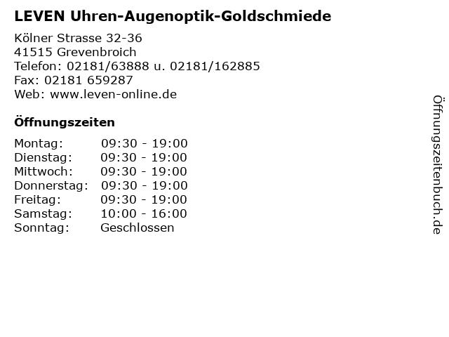 LEVEN Uhren-Augenoptik-Goldschmiede in Grevenbroich: Adresse und Öffnungszeiten