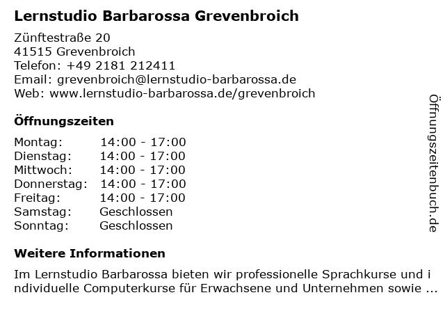 Lernstudio Barbarossa Grevenbroich in Grevenbroich: Adresse und Öffnungszeiten