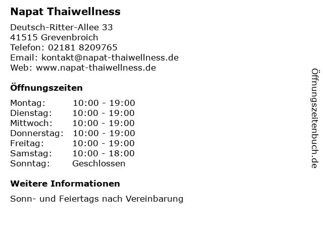 Napat Thaiwellness in Grevenbroich: Adresse und Öffnungszeiten