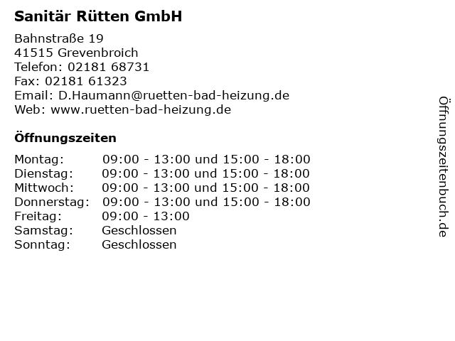 Sanitär Rütten GmbH in Grevenbroich: Adresse und Öffnungszeiten