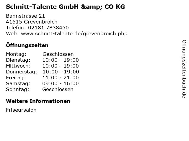 Schnitt-Talente GmbH & CO KG in Grevenbroich: Adresse und Öffnungszeiten