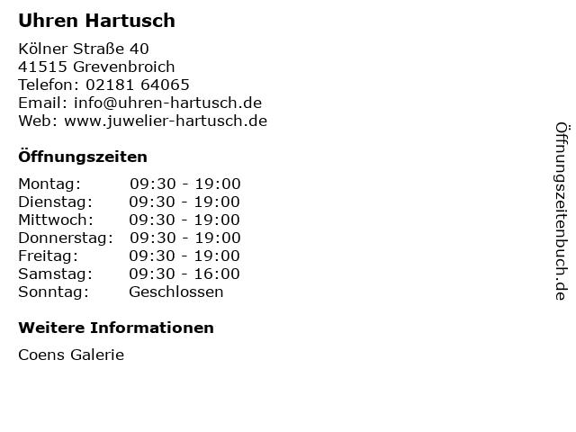 Uhren Hartusch in Grevenbroich: Adresse und Öffnungszeiten