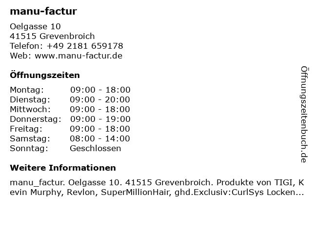 manu-factur in Grevenbroich: Adresse und Öffnungszeiten