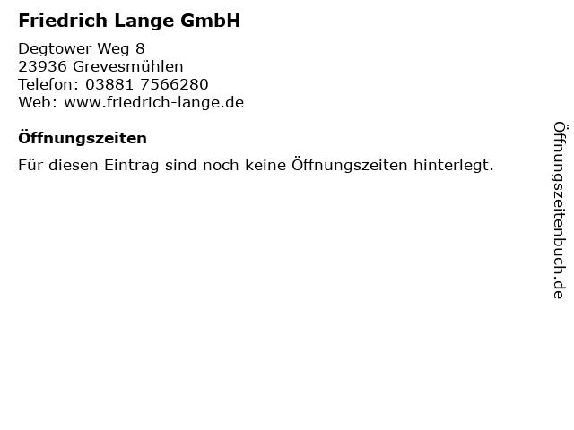 Friedrich Lange GmbH in Grevesmühlen: Adresse und Öffnungszeiten
