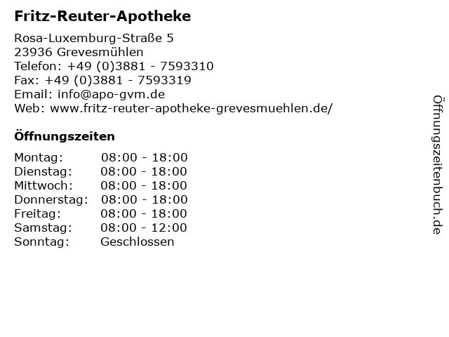 Fritz-Reuter-Apotheke in Grevesmühlen: Adresse und Öffnungszeiten