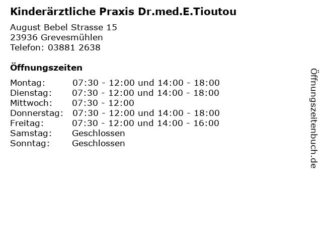 Kinderärztliche Praxis Dr.med.E.Tioutou in Grevesmühlen: Adresse und Öffnungszeiten