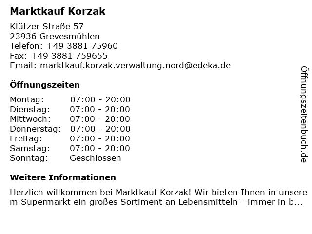 Marktkauf Korzak in Grevesmühlen: Adresse und Öffnungszeiten