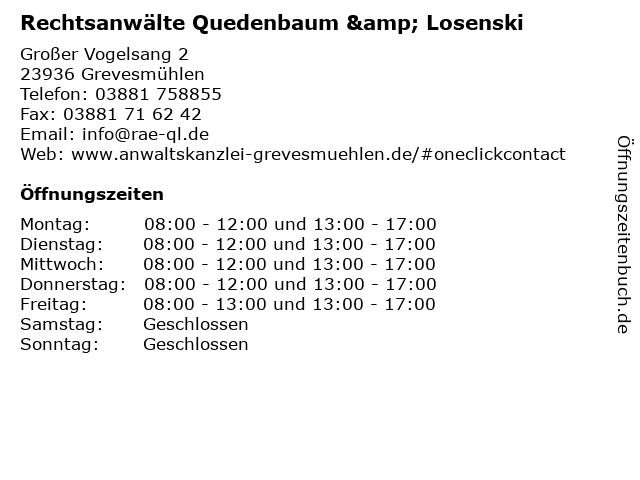 Rechtsanwälte Quedenbaum & Losenski in Grevesmühlen: Adresse und Öffnungszeiten