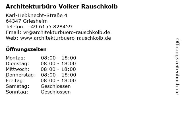 Architekturbüro Volker Rauschkolb in Griesheim: Adresse und Öffnungszeiten