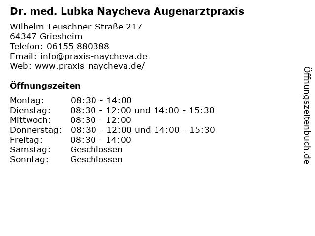 Dr. med. Sabine Schütz Augenärztin in Griesheim: Adresse und Öffnungszeiten