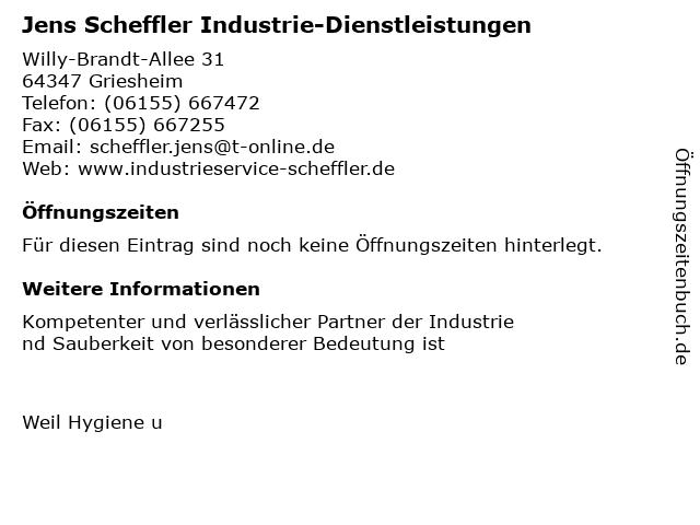 Jens Scheffler Industrie-Dienstleistungen in Griesheim: Adresse und Öffnungszeiten