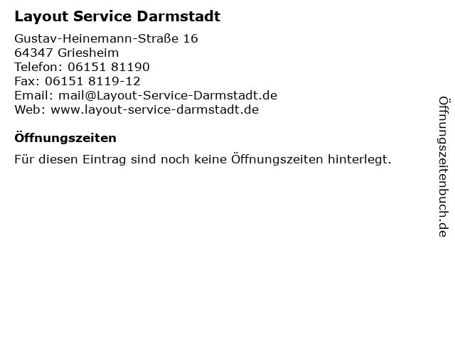 Layout Service Darmstadt GmbH in Griesheim: Adresse und Öffnungszeiten