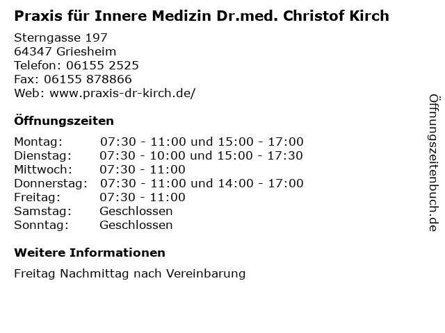 Praxis für Innere Medizin Dr.med. Christof Kirch in Griesheim: Adresse und Öffnungszeiten