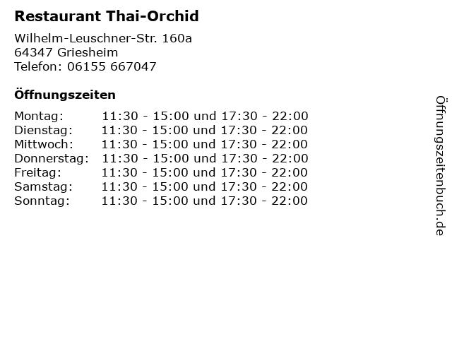 Restaurant Thai-Orchid in Griesheim: Adresse und Öffnungszeiten