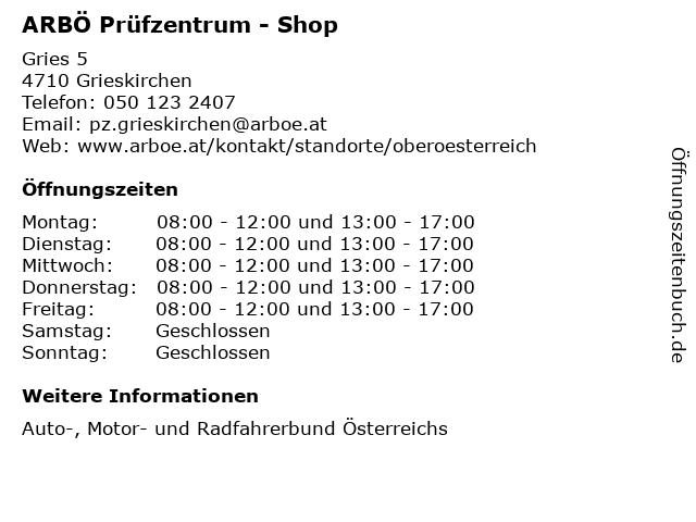 ARBÖ Prüfzentrum - Shop in Grieskirchen: Adresse und Öffnungszeiten