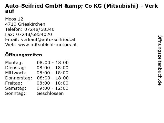 Auto-Seifried GmbH & Co KG (Mitsubishi) - Verkauf in Grieskirchen: Adresse und Öffnungszeiten